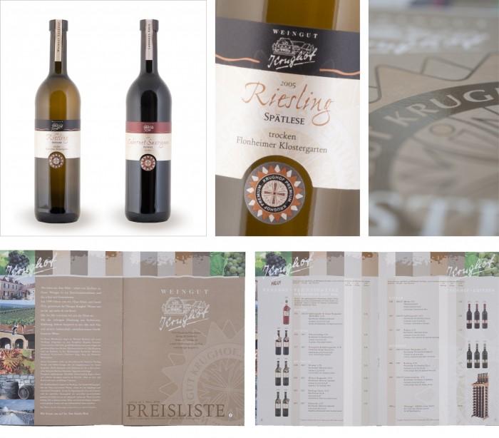 Krughof Produktausstattung Weinetikettengestaltung Weinpreislist