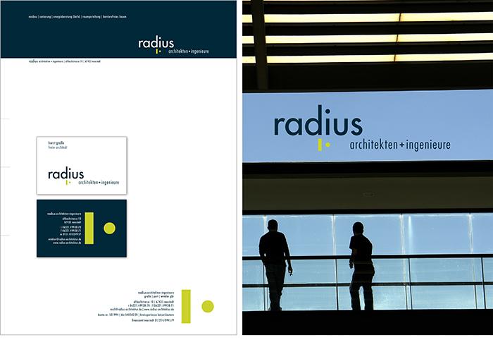 Radius Architekten Logo Geschäftsausstattung Geschäftspapier V